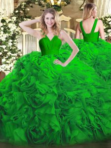 Green V-neck Neckline Ruffles Sweet 16 Dresses Sleeveless Zipper