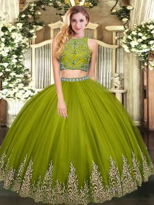 Clearance Beading and Appliques Sweet 16 Quinceanera Dress Olive Green Zipper Sleeveless Floor Length