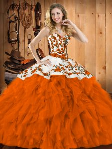 Hot Sale Rust Red Lace Up Sweetheart Embroidery and Ruffles Ball Gown Prom Dress Satin and Organza Sleeveless