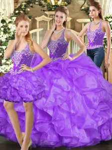 Flare Eggplant Purple Sleeveless Beading and Ruffles Floor Length 15 Quinceanera Dress