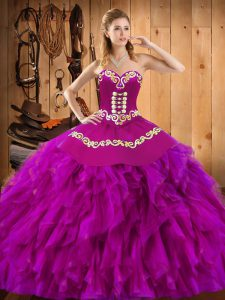 Ball Gowns Ball Gown Prom Dress Fuchsia Sweetheart Satin and Organza Sleeveless Floor Length Lace Up