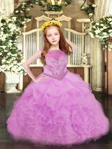 Beading and Ruffles and Pick Ups Pageant Dress Toddler Lilac Zipper Sleeveless Floor Length