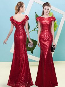 Wine Red Zipper Prom Dress Sequins Cap Sleeves Floor Length