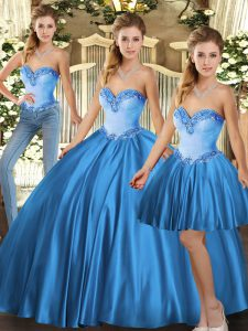 Discount Floor Length Baby Blue Sweet 16 Dress Tulle Sleeveless Beading