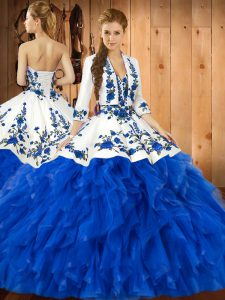 Wonderful Blue Sleeveless Embroidery and Ruffles Floor Length Sweet 16 Quinceanera Dress
