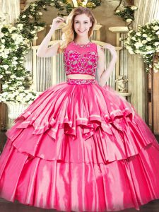 Sweet Hot Pink Sleeveless Tulle Zipper Quinceanera Gowns for Military Ball and Sweet 16 and Quinceanera