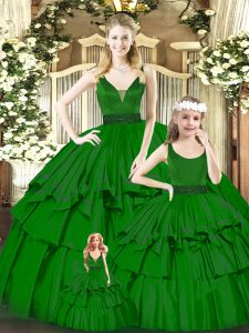 Floor Length Green Sweet 16 Quinceanera Dress V-neck Sleeveless Zipper