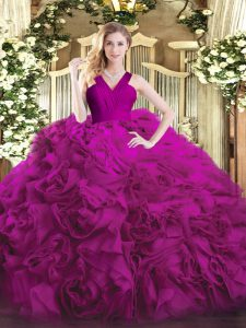 Floor Length Fuchsia Quinceanera Gown Organza and Fabric With Rolling Flowers Sleeveless Ruffles