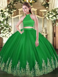Beautiful Green Ball Gowns Halter Top Sleeveless Tulle Floor Length Backless Beading and Appliques Quince Ball Gowns