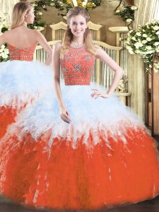 Inexpensive Multi-color Quince Ball Gowns Military Ball and Sweet 16 and Quinceanera with Beading and Ruffles Halter Top Sleeveless Zipper