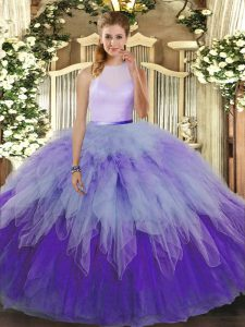 Super Multi-color High-neck Neckline Ruffles Quinceanera Gowns Sleeveless Backless