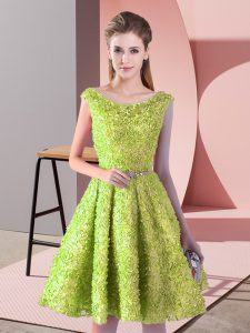 Pretty Scoop Sleeveless Lace Up Prom Gown Yellow Green Lace