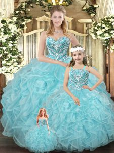 New Style Aqua Blue Sleeveless Floor Length Beading and Ruffles Lace Up Quinceanera Dress