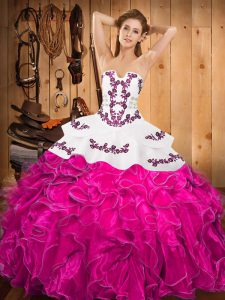 Fuchsia Ball Gowns Strapless Sleeveless Satin and Organza Floor Length Lace Up Embroidery and Ruffles 15th Birthday Dress