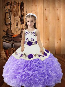 Lavender Straps Neckline Embroidery and Ruffles Glitz Pageant Dress Sleeveless Lace Up