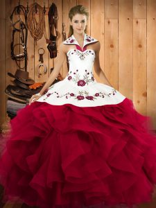 High End Floor Length Lace Up Quinceanera Dresses Red for Military Ball and Sweet 16 and Quinceanera with Embroidery and Ruffles
