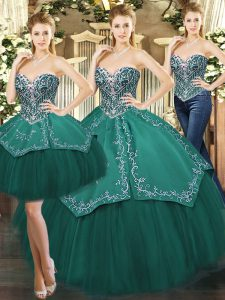 Designer Dark Green Lace Up Sweetheart Beading and Appliques Quince Ball Gowns Tulle Sleeveless