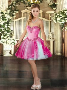 Sweetheart Sleeveless Tulle Dress for Prom Beading Lace Up