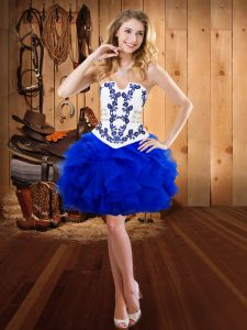 Enchanting Embroidery and Ruffles Royal Blue Lace Up Sleeveless Mini Length