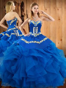 Blue Sleeveless Floor Length Embroidery and Ruffles Lace Up 15th Birthday Dress