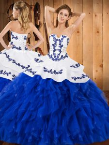 Classical Royal Blue 15th Birthday Dress Military Ball and Sweet 16 and Quinceanera with Embroidery and Ruffles Strapless Sleeveless Lace Up