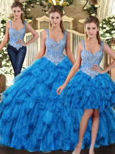 Decent Teal Tulle Lace Up Straps Sleeveless Floor Length 15th Birthday Dress Beading and Ruffles