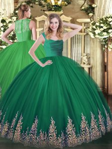 Dark Green 15th Birthday Dress Military Ball and Sweet 16 and Quinceanera with Lace and Appliques Straps Sleeveless Zipper