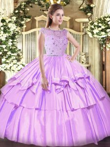 Floor Length Ball Gowns Sleeveless Lavender Quinceanera Gown Zipper