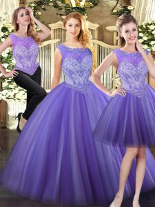 Traditional Lavender Three Pieces Tulle Scoop Sleeveless Beading Floor Length Zipper 15 Quinceanera Dress