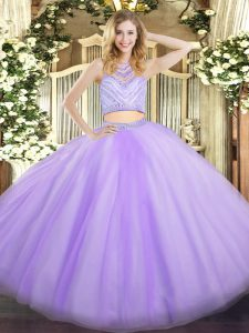 Glorious Scoop Sleeveless Zipper Quinceanera Gowns Lavender Tulle