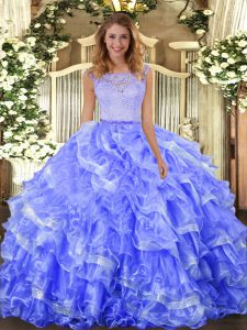 Scoop Sleeveless Clasp Handle Sweet 16 Dress Blue Organza