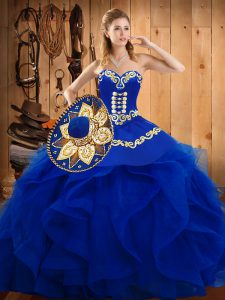 Blue Ball Gowns Organza Sweetheart Sleeveless Embroidery and Ruffles Floor Length Lace Up Sweet 16 Dress