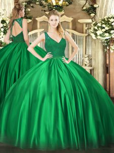 Floor Length Dark Green Ball Gown Prom Dress V-neck Sleeveless Backless