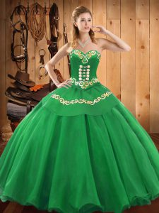 Spectacular Embroidery 15th Birthday Dress Green Lace Up Sleeveless Floor Length