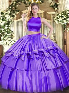 High Class Ruffled Layers Quinceanera Dresses Purple Criss Cross Sleeveless Floor Length