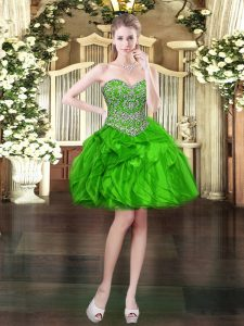 Green Sleeveless Beading and Ruffles Mini Length Homecoming Dress