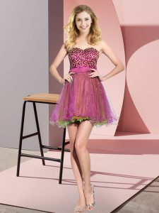 Attractive Multi-color Lace Up Sweetheart Beading and Sequins Court Dresses for Sweet 16 Tulle Sleeveless