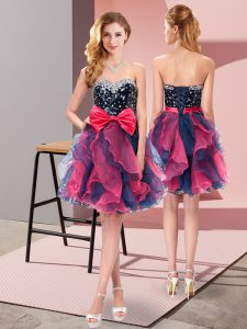 Beading and Ruffles and Bowknot Quinceanera Court of Honor Dress Multi-color Lace Up Sleeveless Mini Length