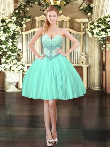 Glamorous Apple Green Ball Gowns Satin Sweetheart Sleeveless Beading Mini Length Lace Up Dress for Prom