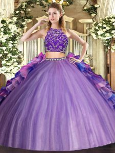 Colorful Multi-color Two Pieces Beading and Ruffles Quince Ball Gowns Zipper Tulle Sleeveless Floor Length