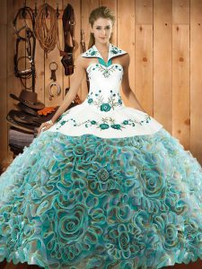Suitable Multi-color 15th Birthday Dress Military Ball and Sweet 16 and Quinceanera with Embroidery Halter Top Sleeveless Sweep Train Lace Up