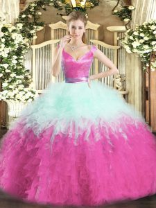 Discount V-neck Sleeveless Sweet 16 Quinceanera Dress Floor Length Ruffles Multi-color Organza