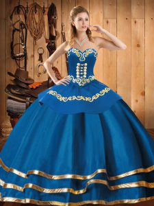Blue Ball Gowns Embroidery Quinceanera Dress Lace Up Organza Sleeveless Floor Length