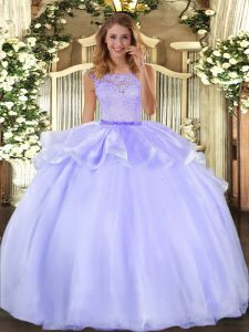 Top Selling Lavender Scoop Neckline Lace Vestidos de Quinceanera Sleeveless Clasp Handle