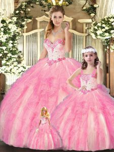 Ball Gowns 15th Birthday Dress Baby Pink Sweetheart Organza Sleeveless Floor Length Lace Up