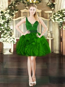 Gorgeous Dark Green Ball Gowns Beading and Ruffles Homecoming Dress Lace Up Organza Sleeveless Mini Length