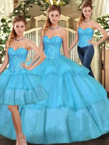 Fashion Aqua Blue Sleeveless Organza Lace Up 15th Birthday Dress for Military Ball and Sweet 16 and Quinceanera
