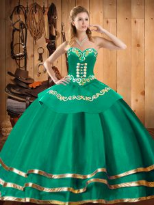 Dramatic Turquoise Sweetheart Lace Up Embroidery 15th Birthday Dress Sleeveless