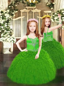 Custom Design Floor Length Green Pageant Dresses Spaghetti Straps Sleeveless Lace Up