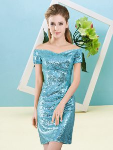 Off The Shoulder Short Sleeves Prom Dress Mini Length Sequins Aqua Blue Sequined